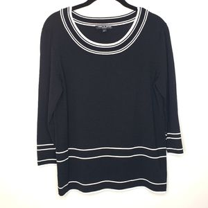 Cable & Gauge Petite Black Sweater with White Trim